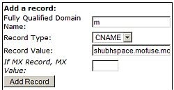 DNS Nameserver CNAME value for Mofuse