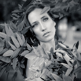 anna outdoors by Shaheen Razzaq - People Portraits of Women ( fashion, black and white, female, head shot, woman, beauty )