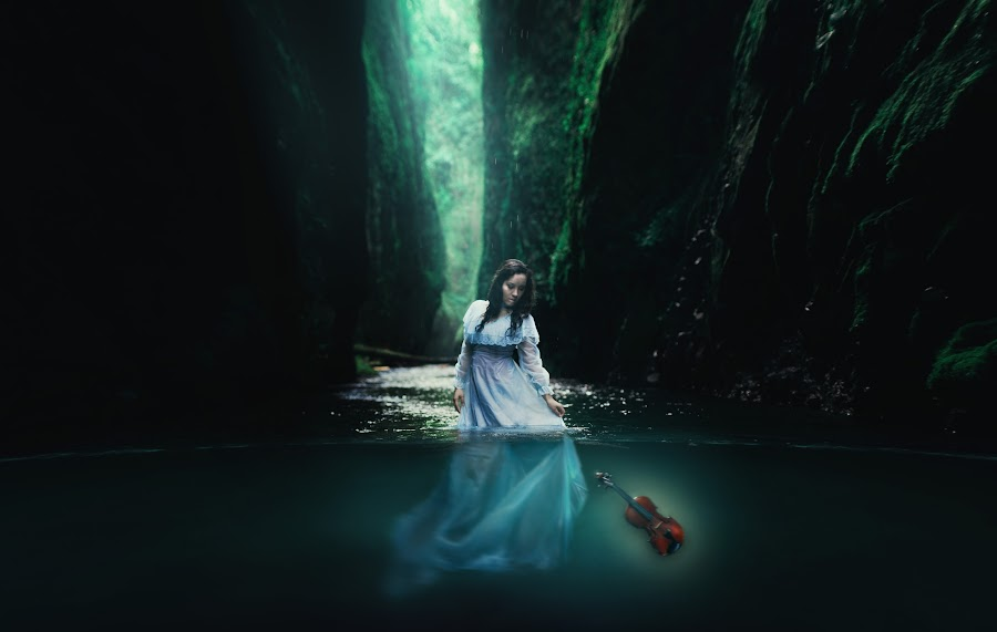 The Sinking Violin by Amy Booker - Digital Art People ( water, oregon, violin, victorian, amybookerphotography, blue dress )