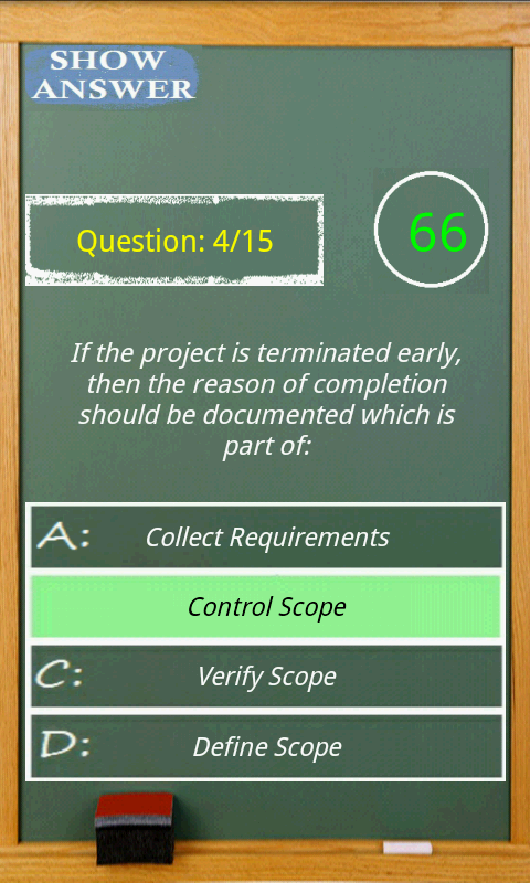 PMP exam game simulator- screenshot