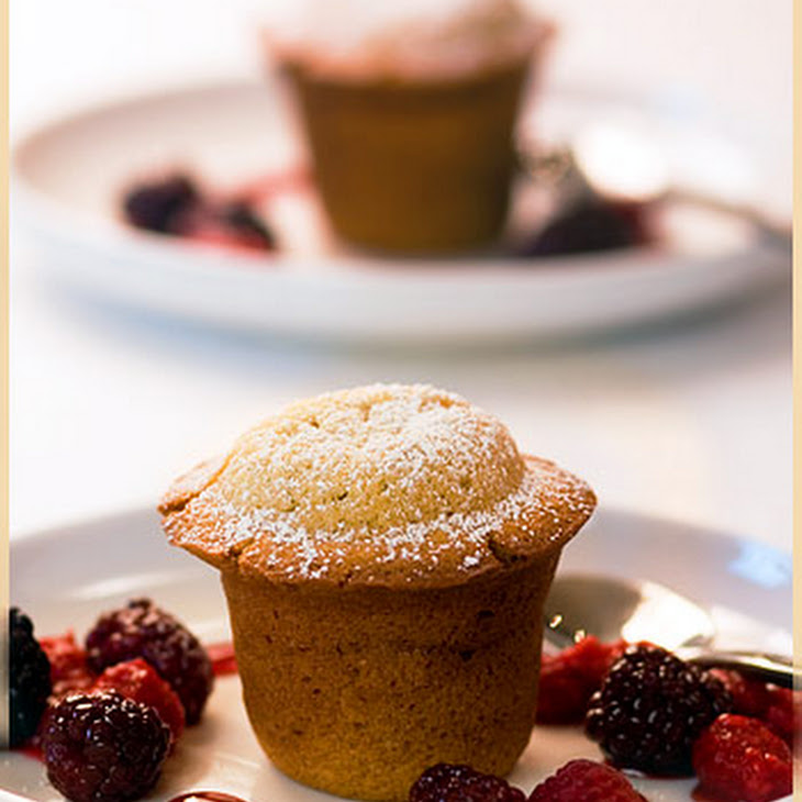 Vanilla Brown Butter and Almond Cake with Warm Vanilla CrèMe BrûLéE Custard Filling and Poached Red Fruit Recipe