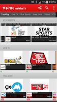 Screenshot of Airtel Live Mobile TV online