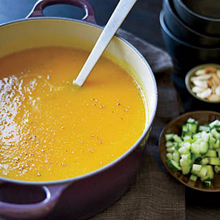 Winter Squash Soup with Roasted Pumpkin Seeds.