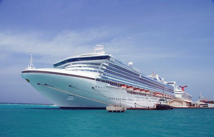 The Golden Princess docked in port in Aruba.
