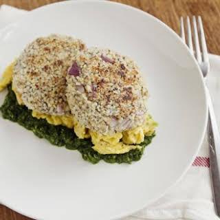 Quinoa Patties with Eggs and Spinach Pesto.