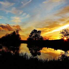 Romantic nights by Catherine Cross - Landscapes Sunsets & Sunrises ( clouds, reflection, sky, park, silhouette, lake, pond )