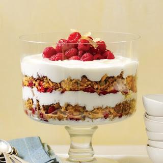 Yogurt Parfait with Granola, Raspberries, and Candied Ginger.