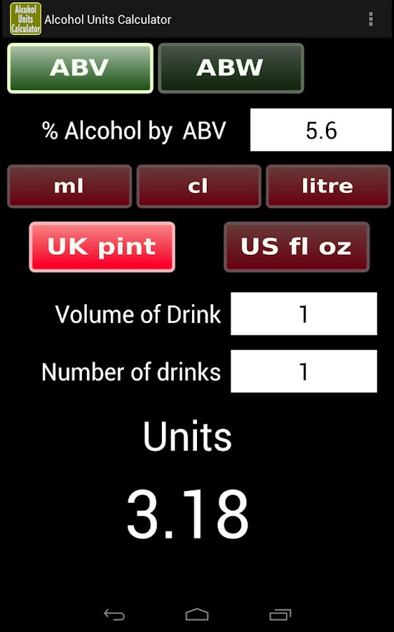 Drink Drive Limit Units Calculator >> Alcohol Units Calculator - Android Apps on Google Play