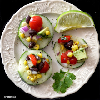 Roasted Summer Salsa with Cucumber Chips.