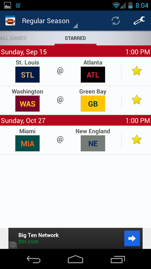 Football Schedule 2014- screenshot
