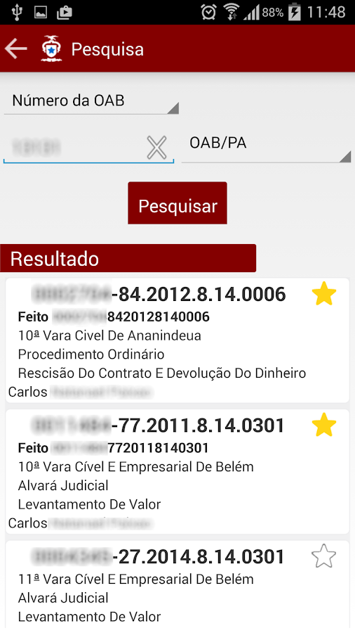 TJPA Mobile: captura de tela