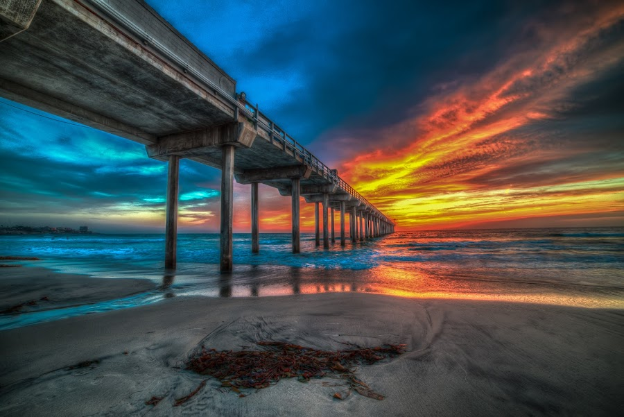 Sky On Fire by Evgeny Yorobe - Landscapes Sunsets & Sunrises ( water, san diego, sunset, pier, ocean )