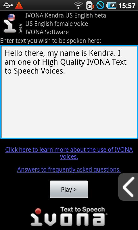 IVONA Kendra US English beta - screenshot