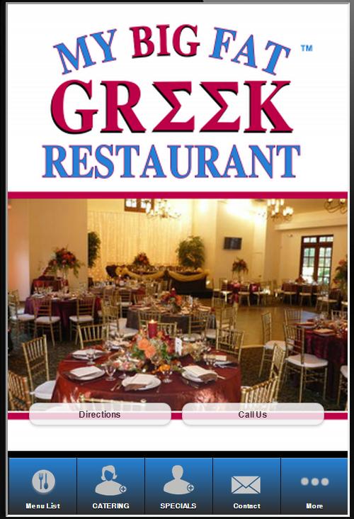 My Big Fat Greek Restaurant Menu Az 105