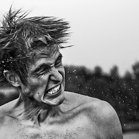 +45 by Mindaugas Navickas - People Portraits of Men ( water, black and white, motion, hair, portrait, man )