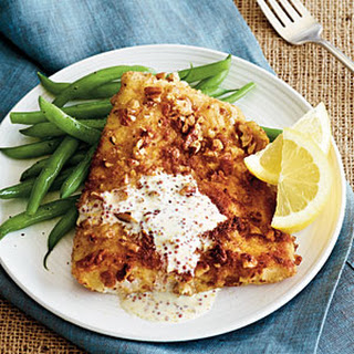 Pecan-crusted Halibut with Dijon Cream Sauce