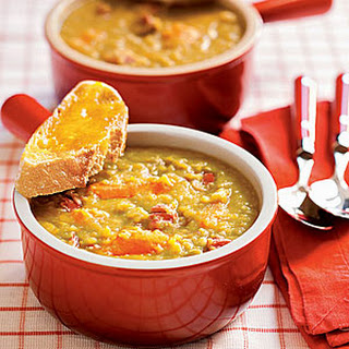 Split Pea Soup with Cheddar Toasts