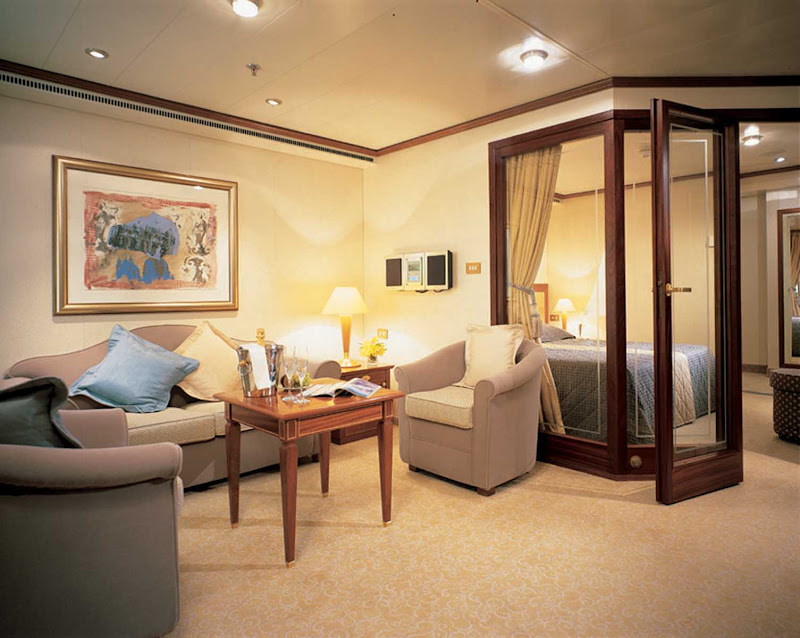 Silversea's Medallion Suite offers guests a spacious room with a teak veranda, living room and luxurious bathroom area.