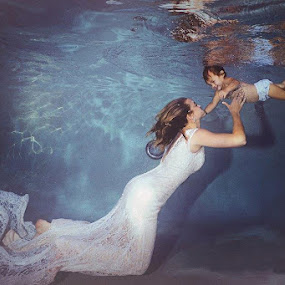 Mommy & Me by Stacy O'nell - People Family ( water, mommy&me, babies, underwater, mom and 'kid', wedding dress, mom with kids, trash the dress )