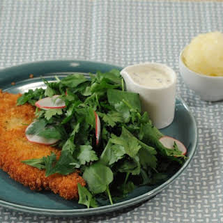Panko-Crusted Chicken with Watercress Salad and Buttermilk Dressing.