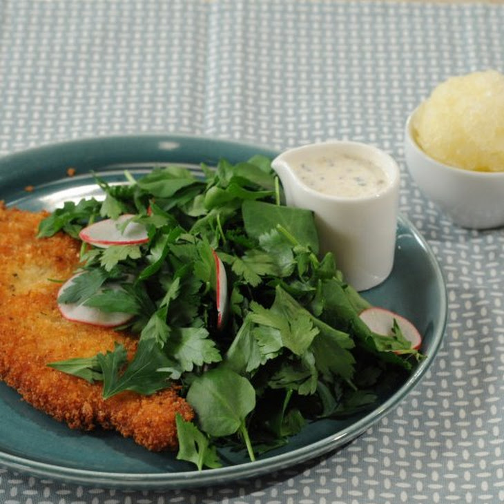 Panko-Crusted Chicken with Watercress Salad and Buttermilk Dressing Recipe