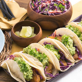 Crispy Fish Tacos with Guacamole & Red Cabbage Slaw.