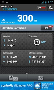Runtastic Altimeter & Compass screenshot for Android
