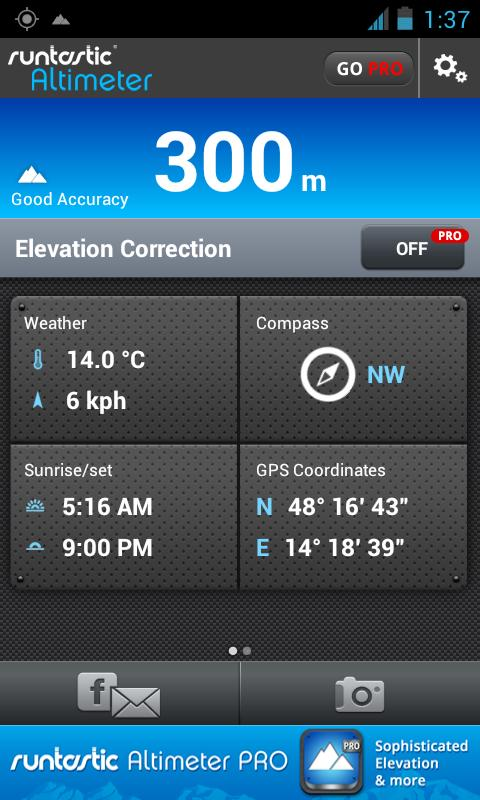 Runtastic Altimeter & Compass - screenshot