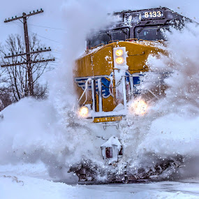 Whamoo !! by Michael Wolfe - Transportation Trains ( bns, train tracks, winter, bns engine, train engine, snow, train, union pacific,  )
