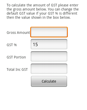 Basic GST Calculator- screenshot