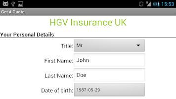 Screenshot of HGV Insurance Quotes UK