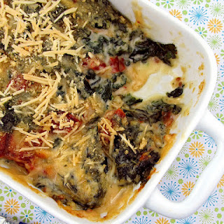 Baked Fontina and Kale with Sun-Dried Tomatoes.