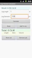 Screenshot of Log Volume Calculator