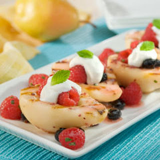 Grilled Berry-kissed Pears With Yogurt