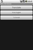 Screenshot of Euro Dictionary