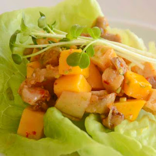 Mango, Roasted Eggplant and Tofu Lettuce Cups