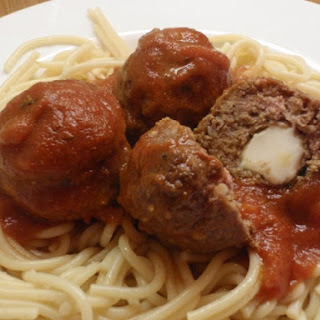 Cheese Stuffed Meatballs And Spaghetti.