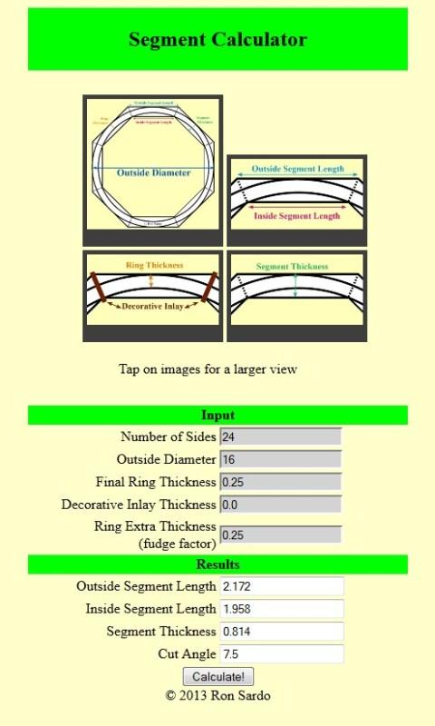 Woodturning Segment Calculator- screenshot