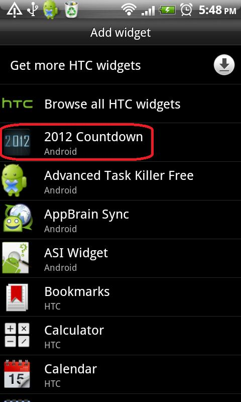 2012 Countdown Widget - screenshot