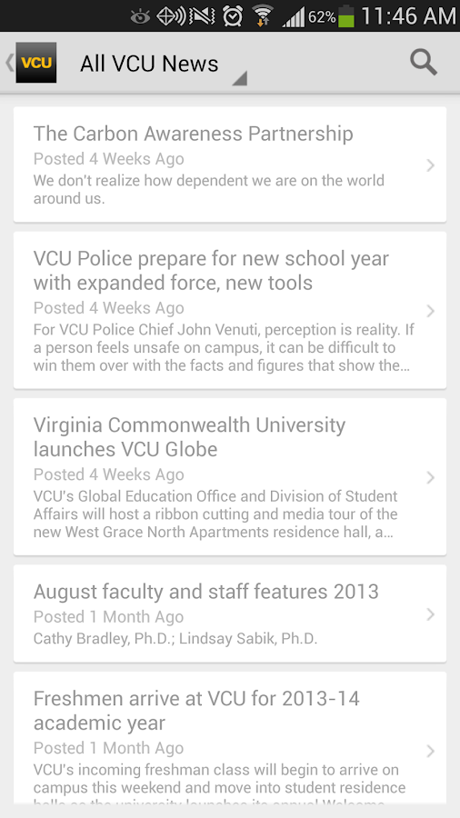 VCU Mobile- screenshot