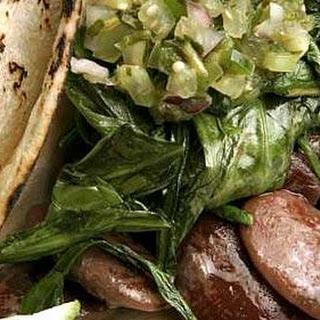 Dandelion green and Christmas lima bean tacos