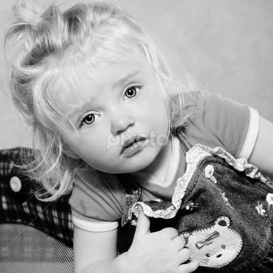 No More Tears B & W by Cheryl Korotky - Black & White Portraits & People ( child model peyton, a heartbeat in time photography, casual photos, cute kids, amazing faces, b & w, beautiful children, portrait,  )