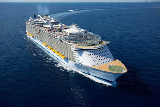 An aerial view of Royal Caribbean's Oasis of the Seas, which sails to the Eastern and Western Caribbean and Western Mediterranean, including Barcelona, Rome and Naples.