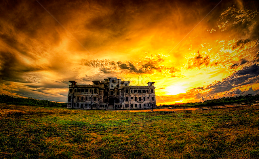 Old Casino by Ravuth Um - Buildings & Architecture Public & Historical ( landcape, old, building, mountin, sunset, casino )