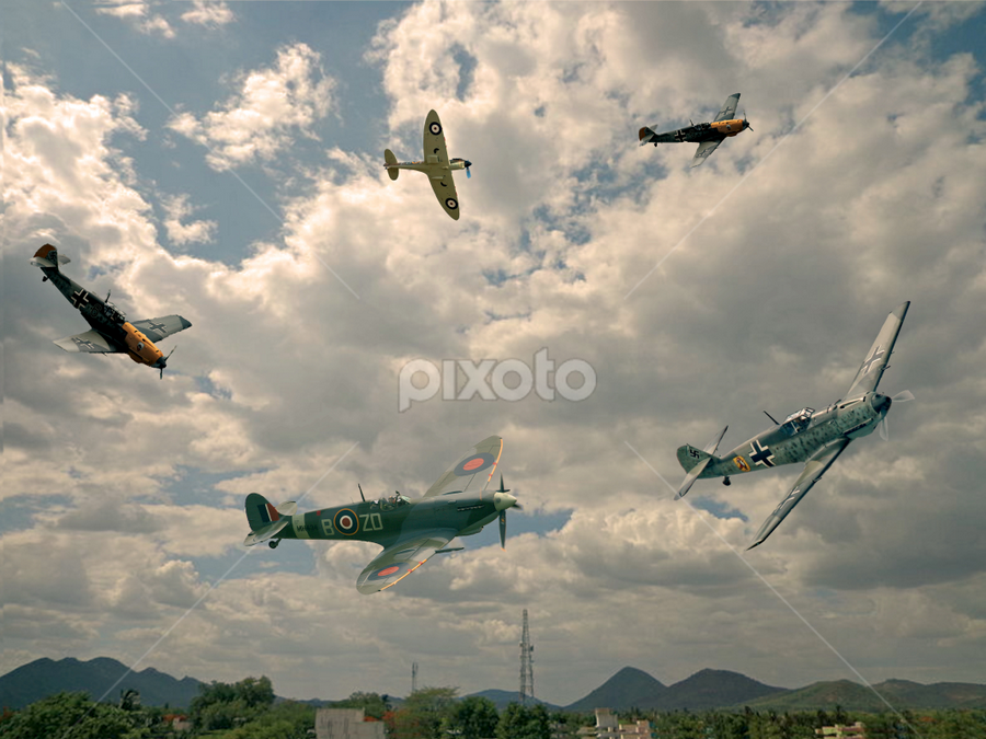 On Your Tail Skipper !! by Dave Borrill - Digital Art Abstract ( wwll, spitfire, hero's, europe, me 109, dog fight, planes, war, airmen )
