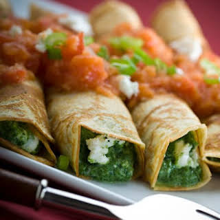 Spinach-feta Crepes With Tomato Coulis.