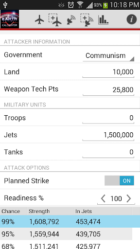 Earth Empire Attack Calculator