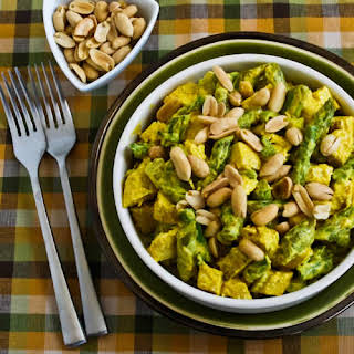 Curried Chicken Salad with Asparagus and Peanuts.