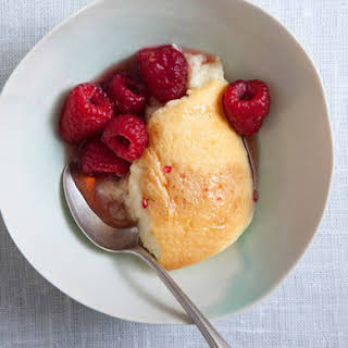 Buttermilk Pudding Cake with Maple Raspberries.