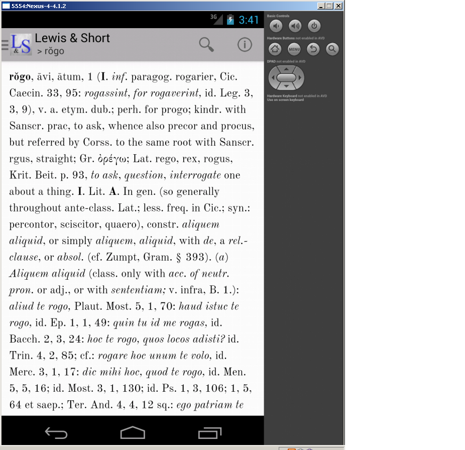 Lewis & Short Latin Dictionary- screenshot